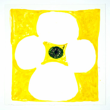 """""""Inner Vision: Yellow + White + Olive"""", 2020. Monotype, 16"""" x 16"""""""