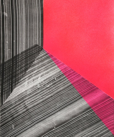 """""""Replay 2"""", 2020. Intaglio and acrylic. 29 3/4"""" x 22 1/4""""."""