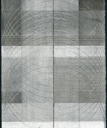 """""""Untitled VIII"""", 2015. Silver, copper and graphite with sanding on prepared paper. 12"""" x 8 3⁄4""""."""