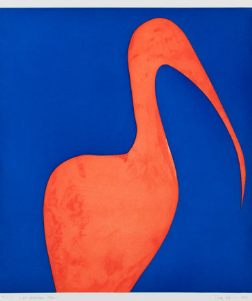 """Left Gatekeeper Ibis"", 2006. etching, aquatint, soap ground aquatint. Image size: 21"" x 18 ¾"",  paper size: 28 ½"" x 26"". Edition of 10."