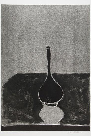 """Tall Gray Vase"", 2005. Monotype. Image: 24"" x 17"", paper: 30"" x 22""."