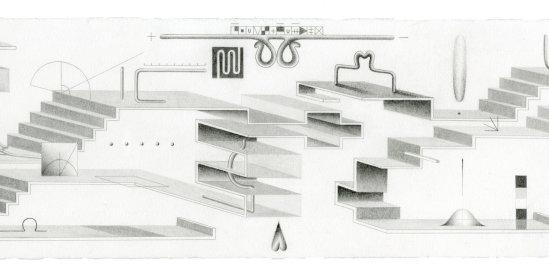 """Mentalscape 2"", 2021. Graphite on Rives BFK paper., 6 x 19""."
