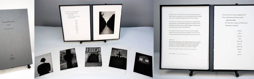 """Toward What Sun?"" Volume I, 2016. Portfolio of ten photogravures by Philip Van Keuren with letterpress-printed title page and colophon. Housed in a custom, clamshell portfolio case with debossed title."