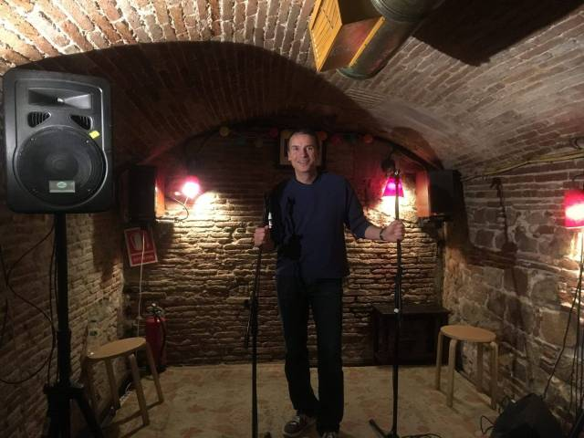 Doing stand-up comedy on stage