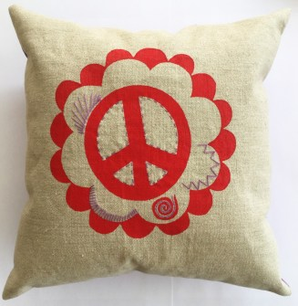 "Peace Sign and Hearts, medium art pillow, 13"" square, available for $40"