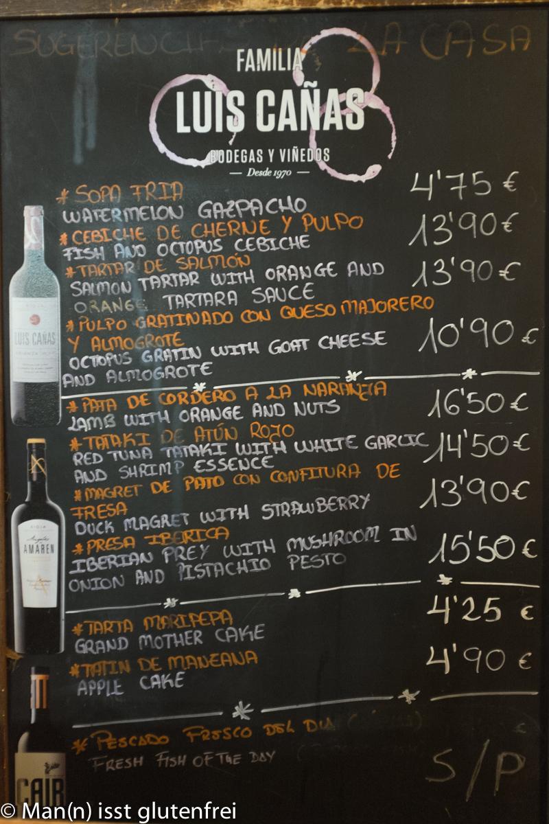 Restaurant Mahoh Tageskarte
