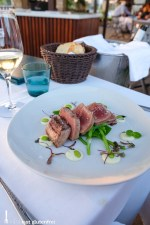 Grilled red tuna with soya beans and wasabi mayonnaise