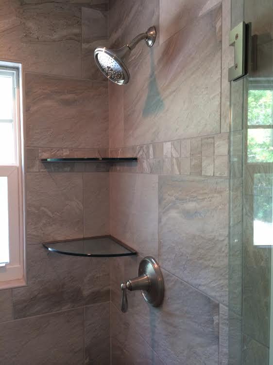 Shower glass shelves