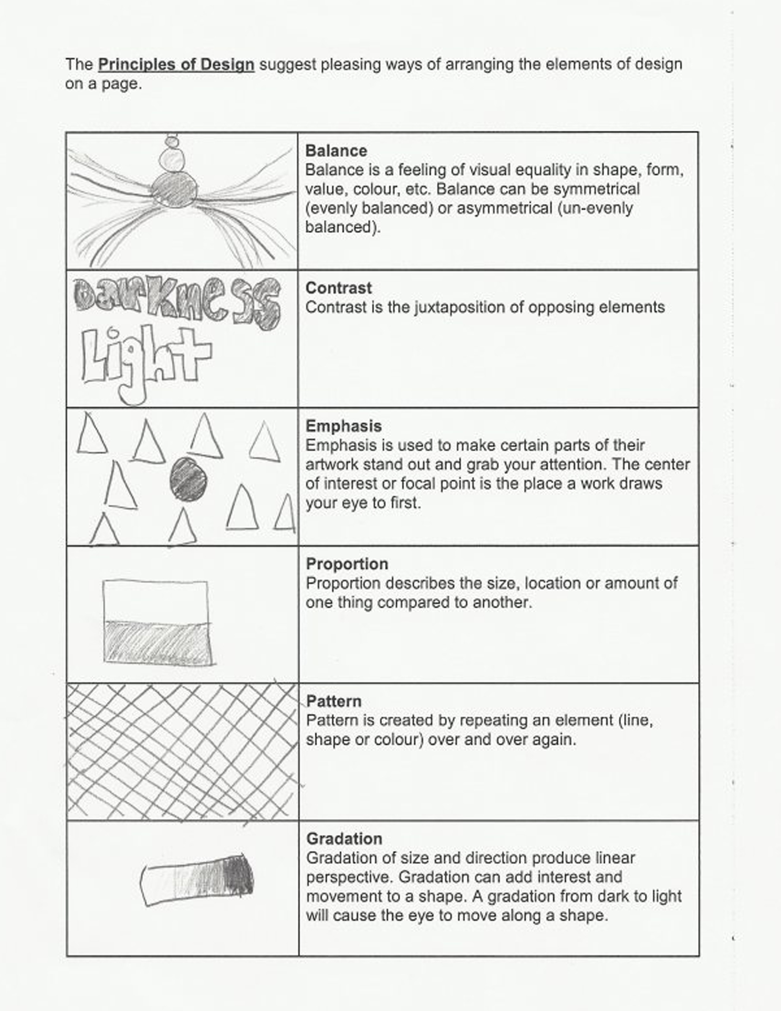 Elements Of Principle Design Worksheet