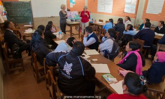 Teachers from Minnesota speaking with teachers and parents from Arani, Bolivia as part of our pilot teacher exchange program this summer. We will be doing this program again in 2014.