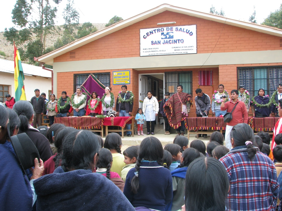 Dedication of the clinic expansion in San Jacinto in November. We previously built a health clinic in October 2005, which was a smaller project that had one nurse on staff. After a number of years in operation, the community approached our counterpat organization Mano a Mano Bolivia asking for an expansion of the project to be able to add space for a doctor and dentist.