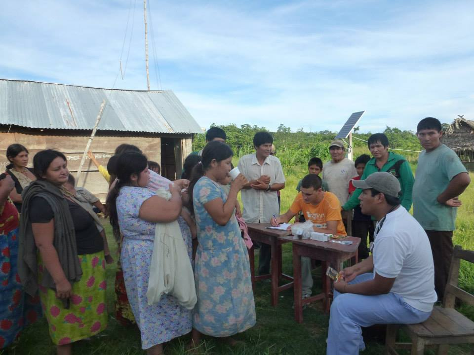 Ushbe residents receiving medications during a weekend health clinic.