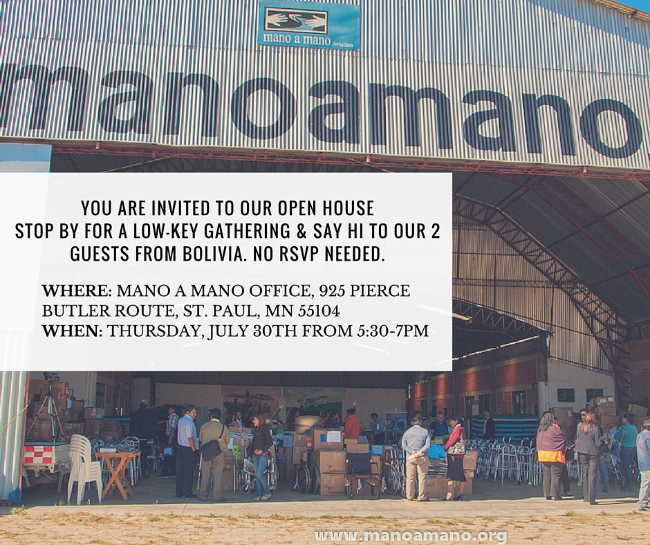 Join Us and Our Bolivian Guests on June 30th for an Open House at Mano a Mano