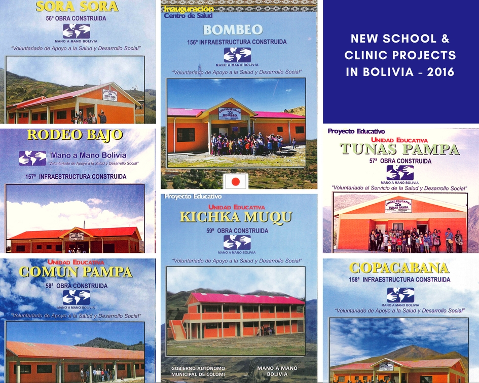 A few of the new schools and clinics completed in 2016.