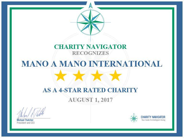 Mano a Mano Receives 4th Consecutive 4-Star Rating from Charity Navigator
