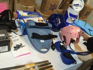 Some of the physical therapy items from Mano a Mano on display at the workshop.