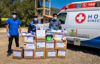 Donating supplies for COVID-19 support, April 2020.