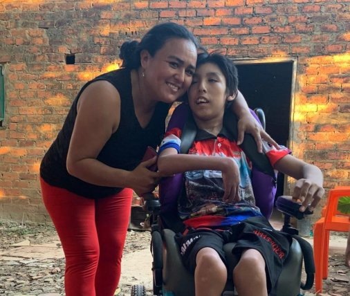Donating a wheelchair for Gustavo in Trinidad, Beni in May.