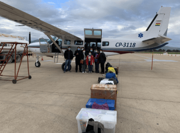 Volunteer medical professionals getting ready to fly on the Mano a Mano plane for a weekend health clinic in San Lorenzo de Moxos, January 22-23, 2021.