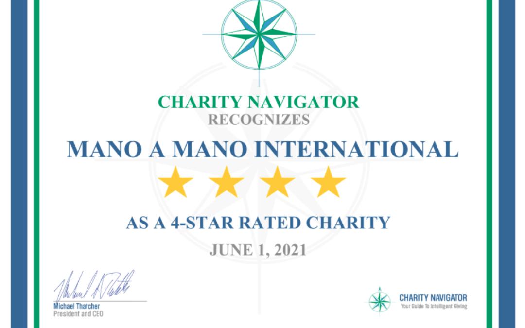 Mano a Mano Receives 8th Consecutive 4-Star Rating From Charity Navigator