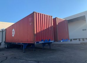 2 containers at Mano a Mano's St. Paul warehouse - ready to load with supplies for Bolivia, September 2021.