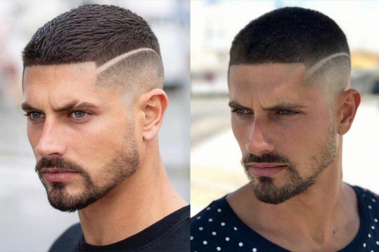 Man with short haircut buzz cut hairstyle