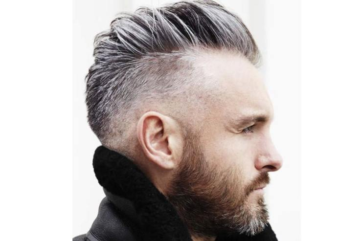 Man with silver hairstyle short haircut