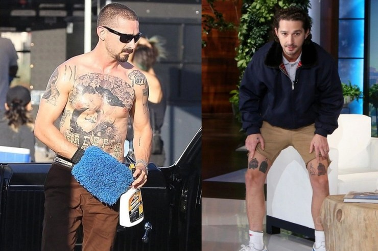 Shia Lebeouf shows tattoos