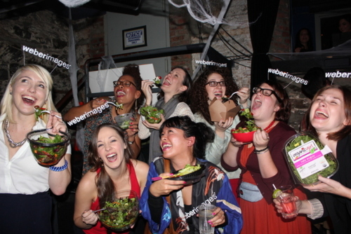 "Women laughing ""alone"" with salad Halloween Costume"