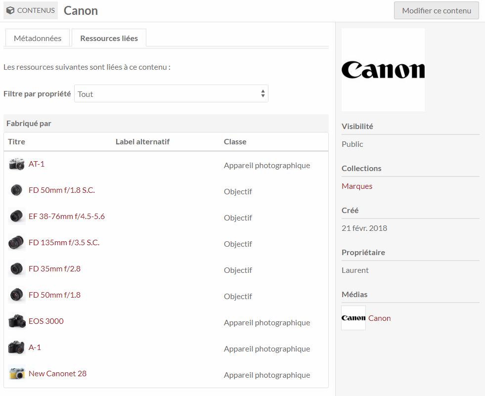 Les liens entres ressources permettent aussi de lister automatiquement tous les éléments pour lesquels j'ai renseigné le fabricant Canon