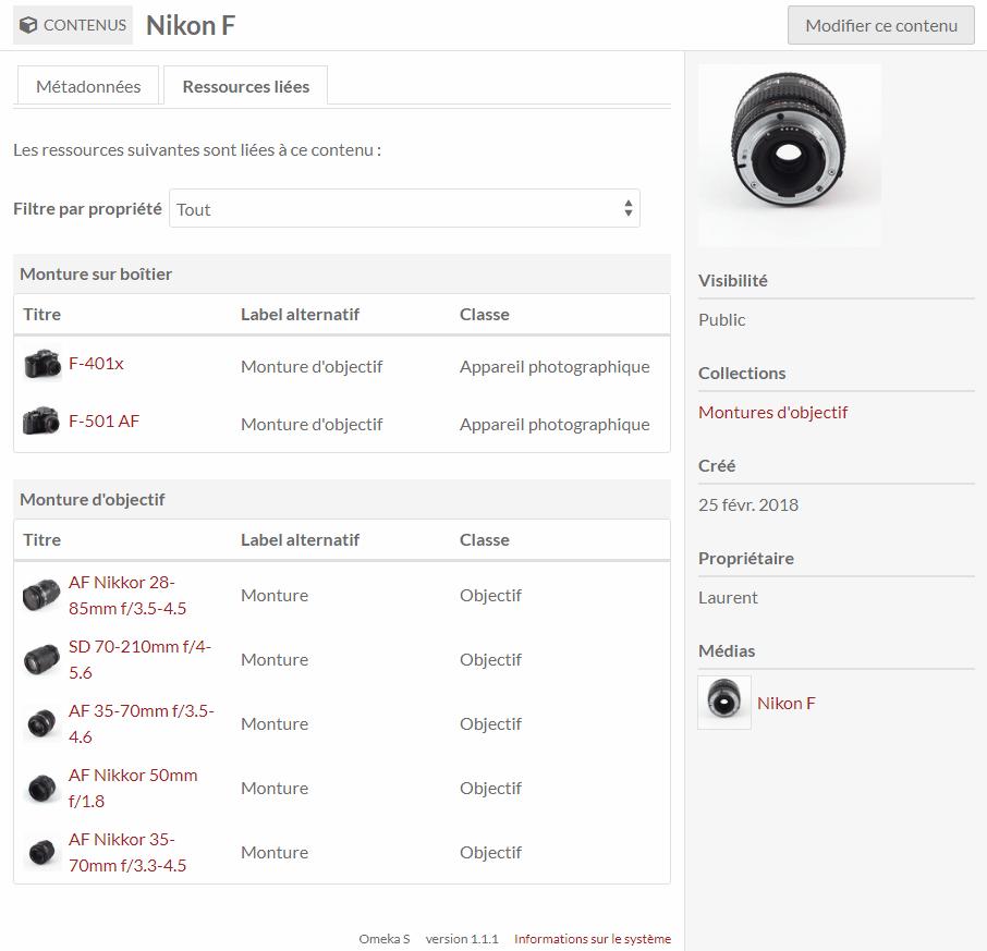 Ici, une page liste tous les appareils et objectifs liés à la monture Nikon F