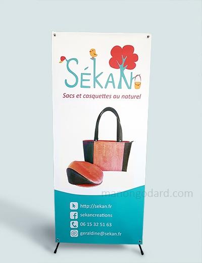 Kakemono pour la marque SeKaN, entrepreneuse créatrice de sacs, couturière. Graphiste : Manon Godard