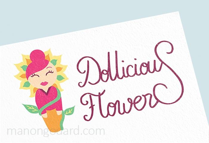 Logo pour Dollicious Flowers, entrepreneuse créatrice artisanale de poupées miniatures et fleurs en papiers - Graphiste : Manon Godard