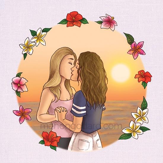 Illustration personnalisée portraits pour cadeau de la Saint Valentin - Couple de femmes - Illustratrice : Manon Godard