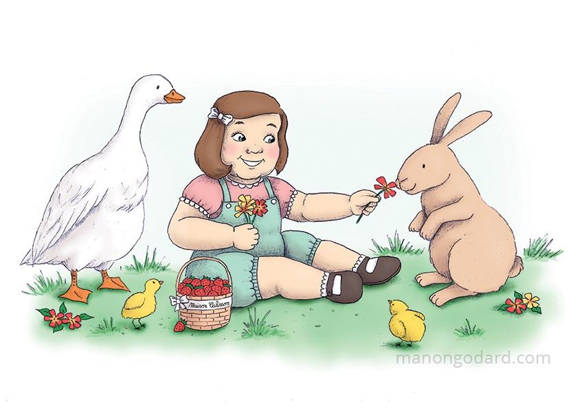 Illustration pour les locaux (jardin) de Maison Calisson, entrepreneuse assistante maternelle - Petite fille entourée d'animaux de la ferme avec son panier potager - Illustratrice : Manon Godard