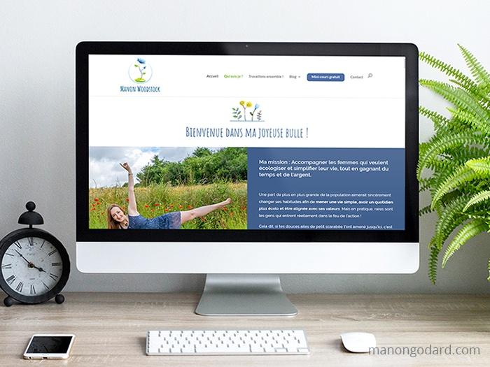 Site de Manon Woodstock, entrepreneuse écologique - accompagnements à l'écologie du quotidien - Site et identité visuelle créés par Manon Godard, graphiste et webdesigner pour les entrepreneures