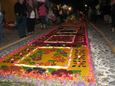 Semana Santa Antigua Guatemala at Night Floral Carpet