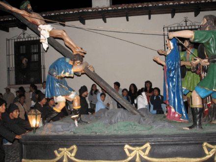 Semana Santa Antigua Guatemala at Night Hoisting the Cross