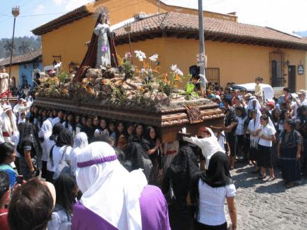 Semana Santa Ladies Leader -- Semana Santa -- Holy Easter Week Good Friday Easter Sunday in Antigua, Guatemala