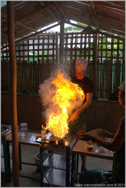 Cooking a Stir Fry,Thai Cooking Class, Pai Thailand