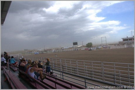 Ominous storm clouds at rodeo