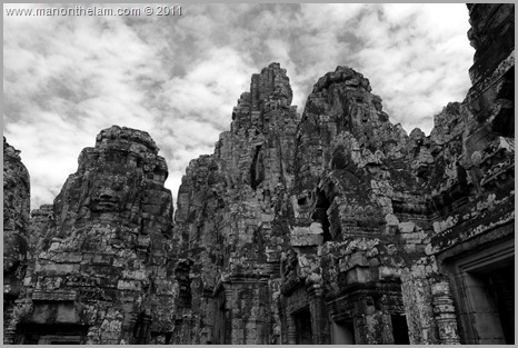 Black and White Faces of Avalokeshvara, Bayon, Angkor, Cambodia