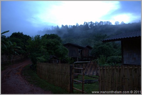 Hill Tribe Village at Dusk, Hill Trek, Northern Thailand