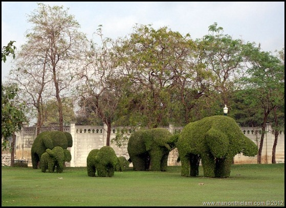 Topiary elephants, Bang Pa-In Royal Palace, Ayutthaya, Thailand