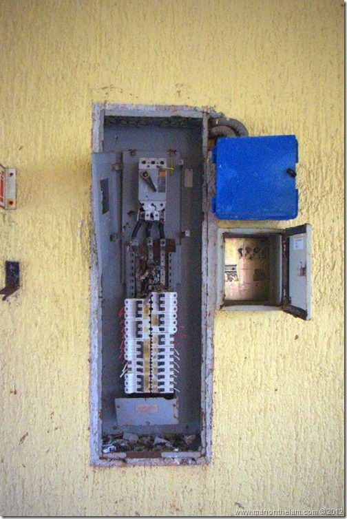 broken electrical breaker box -- Abandoned Beach Resort, Club Maeva Tulum, Xpuha, Riviera Maya, Mexico 224