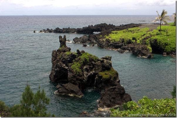Black sand beach at Waianapanapa State Wayside Park, Maui, Hawaii-100