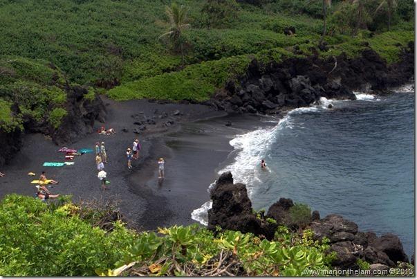 Black sand beach at Waianapanapa State Wayside Park, Maui, Hawaii-105