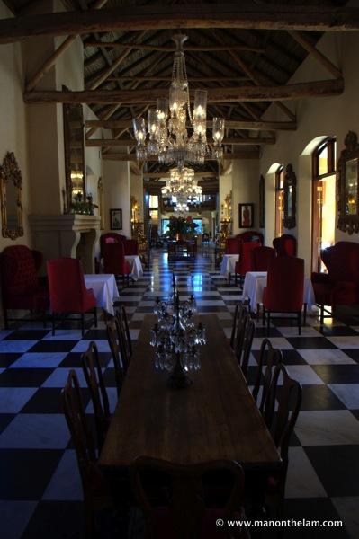 Dining room, world's best hotel, La Residence Hotel  Villas Franschoek South Africa