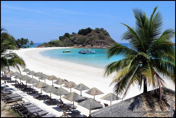 sandy white beach, palm trees, Laguna Redang Island Resort, Malaysia