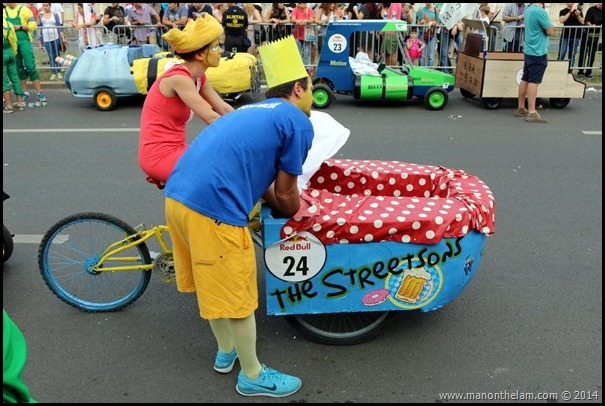 Red Bull Soapbox Race Bucharest Romania -- The Simpsons racer